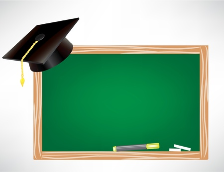 alumna: graduation cap and chalk board isolated on white