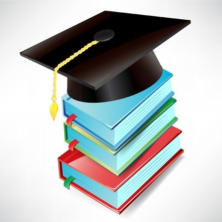 academic achievement: graduation cap and books isolated on white background Illustration