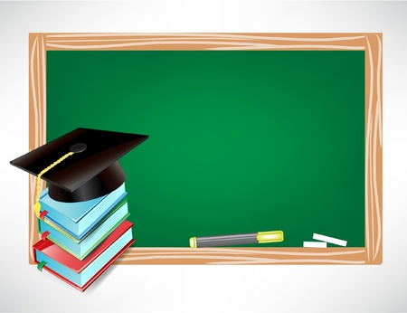 master degree: graduation cap and chalk board isolated on white
