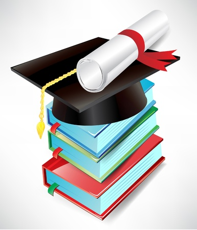 masters: graduation cap, diploma and book pile isolated Illustration