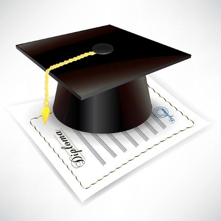 Tappo di laurea con diploma isolato su bianco