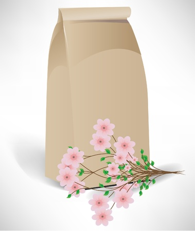 bag with flower arrangement isolated on white Vector