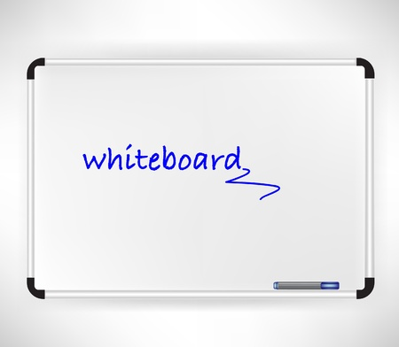 single whiteboard isolated on white with marker Vector
