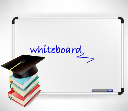 master degree: graduation cap and books on whiteboard isolated Illustration