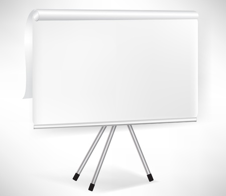 office presentation: paper flip board with tripod isolated on white