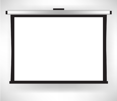 boardroom: single white empty projector screen isolated