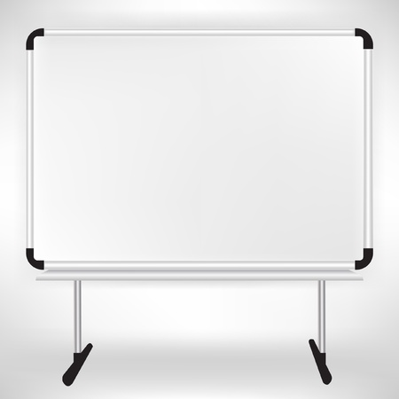 single empty whiteboard isolated on white Vector