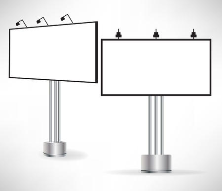 billboard blank: two sides of empty billboard isolated on white