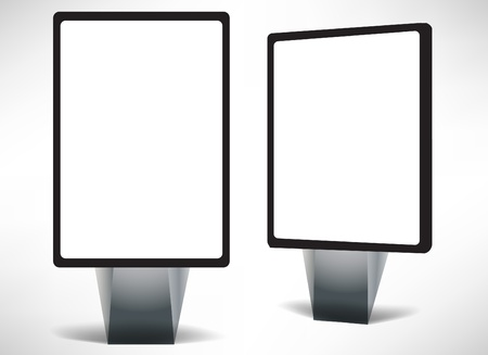 publicity: front and side empty city billboard isolated on white