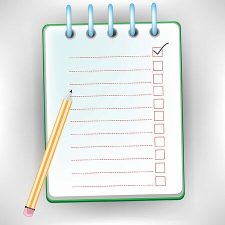 checklist notebook with pencil isolated on white Stock Vector - 10886664