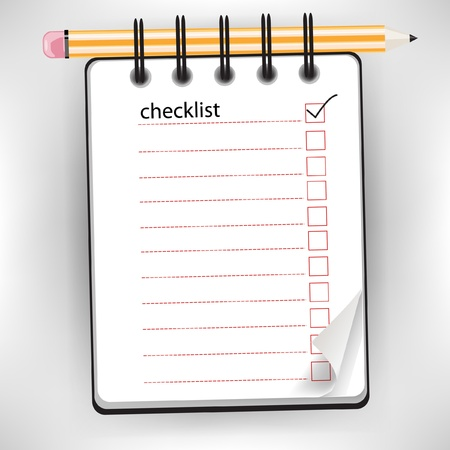 checklist notebook with pencil isolated on white Stock Vector - 10886718