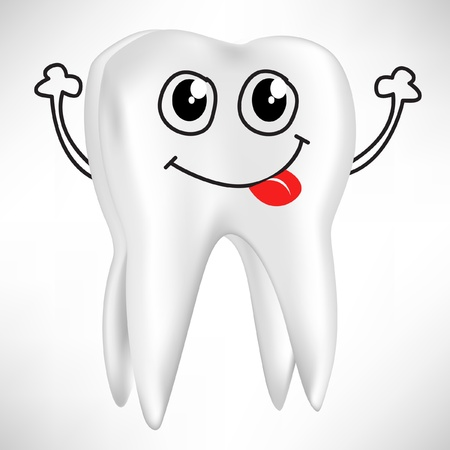 caries dental: diente feliz aislado en blanco aislado en blanco