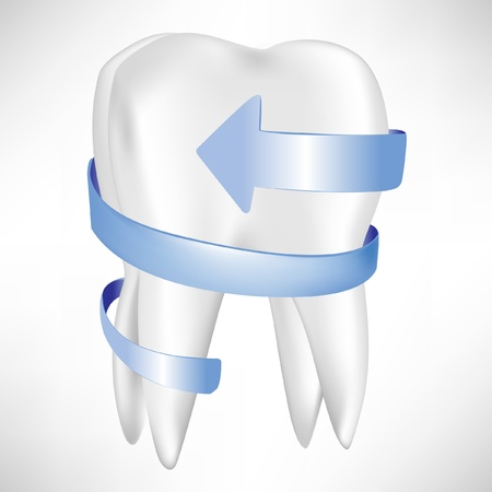 decayed: tooth protection with blue arrow isolated on white Illustration
