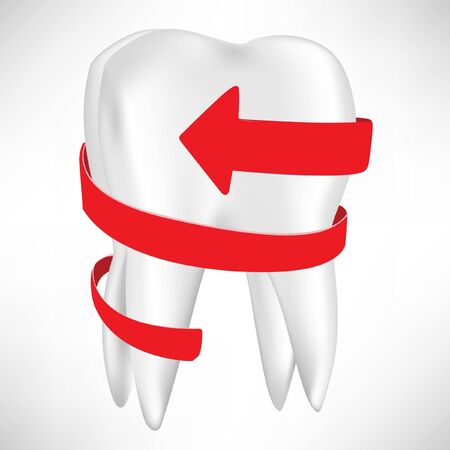tooth with red arrow isolated on white Stock Vector - 10884764