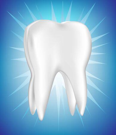 dientes con caries: diente brillante solo en azul brillante Vectores