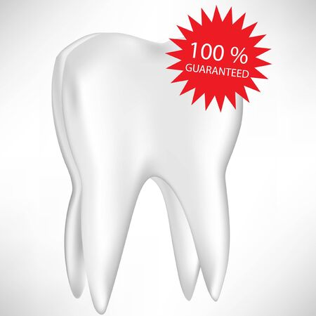 dental clinic: single isolated on white tooth with guaranty label Illustration