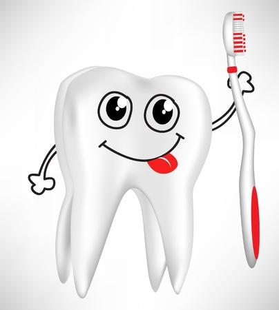 karies: lycklig tand hålla tandborste isolerade på vitt
