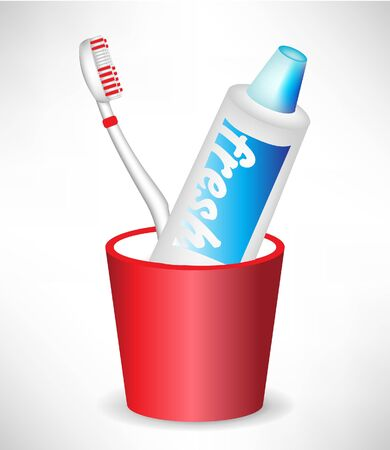 decayed: toothbrush and toothpaste in container isolated Illustration