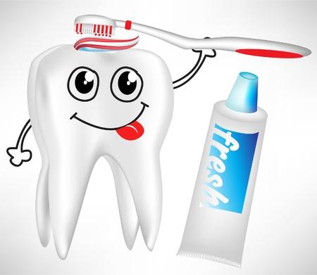 dientes con caries: diente se cepillado con un dent�frico aislados Vectores