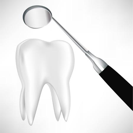 dent douleur: dent examin�e par le miroir dentaire isol� sur blanc