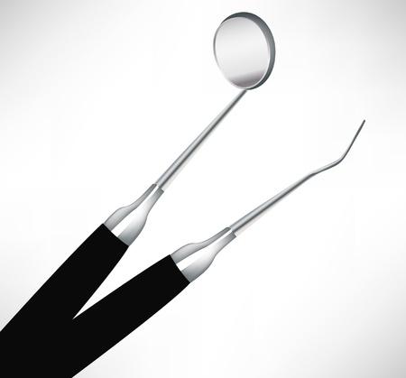 spital ger�te: schlie�en Ansicht von zwei zahn�rztliche Instrumente isoliert auf wei�