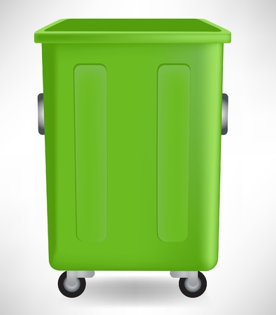 garbage bin: open green open trashcan isolated on white Illustration