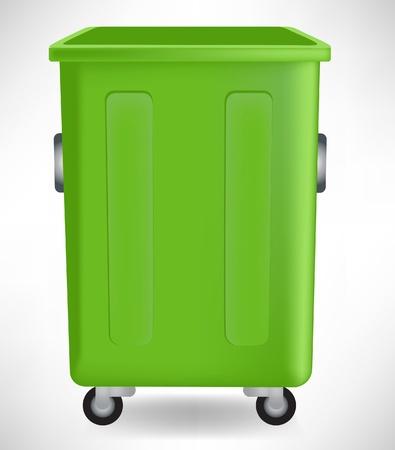 afvalbak: Open groene open prullenbak op wit wordt geïsoleerd Stock Illustratie