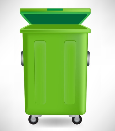 dispose: green trashcan with cap isolated on white background