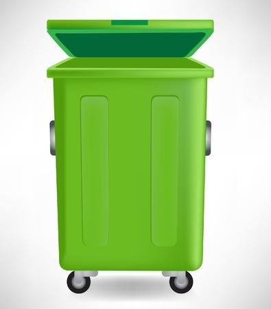 botes de basura: verde bote de basura con tapa aisladas sobre fondo blanco