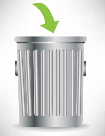 cesto basura: Papelera solo con flecha verde aislado