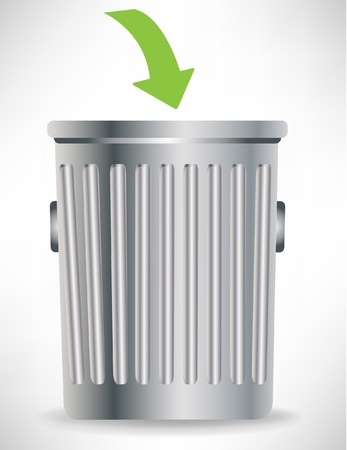 garbage bin: single trashcan with green arrow isolated