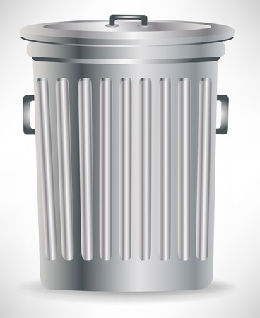 rubbish bin: single metallic trashcan with cap isolated