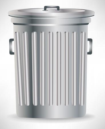 cesto basura: un solo bote de basura con tapa met�lica aislada Vectores