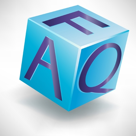 frequently asked questions cube button application isolated Vector