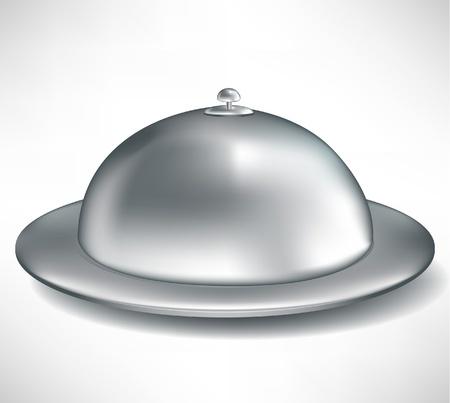 serveur avec plateau: unique plateau traiteur ferm� isol� sur blanc Illustration
