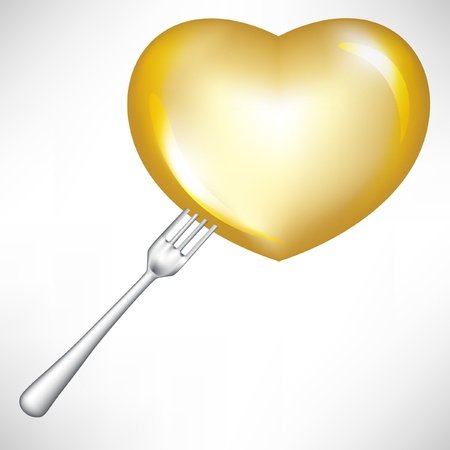 single golden heart in fork isolated on white Stock Vector - 10886497