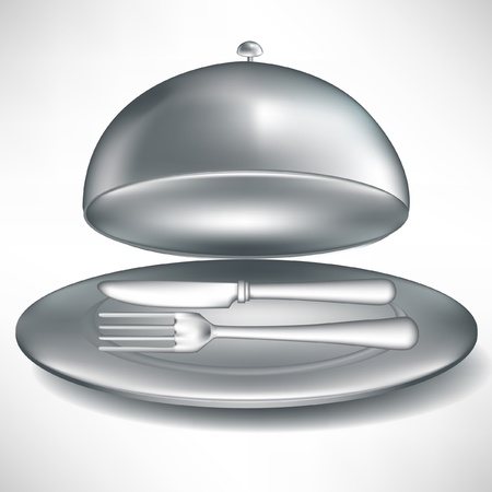 domed tray: open catering tray with fork and knife isolated