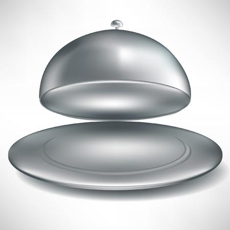 bandeja de comida: bandeja de plata catering abierto aislado en blanco