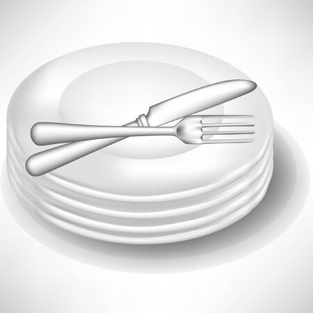 formal place setting: pile of white porcelain plates with fork and knife isolated