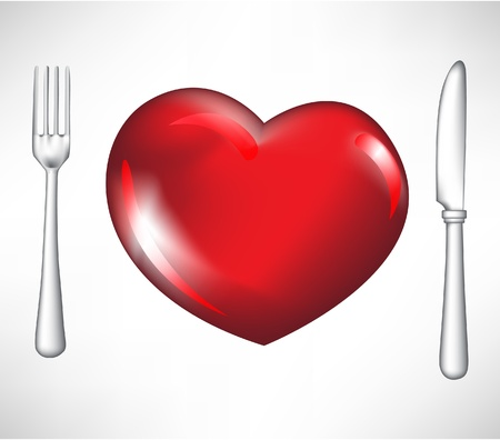 overdose: fork and knife with red heart isolated