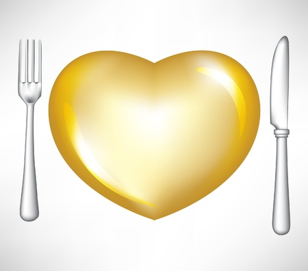 golden heart: fork and knife with golden heart isolated on white Illustration