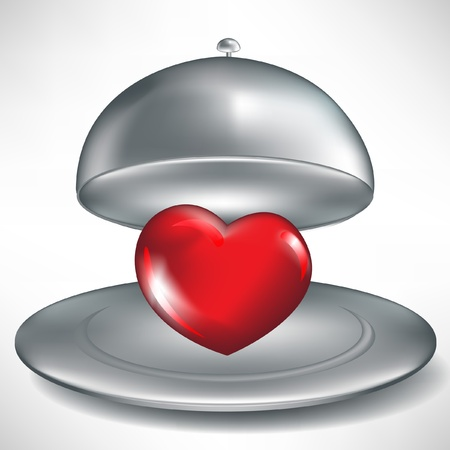 poisoning: open catering tray with red heart isolated Illustration