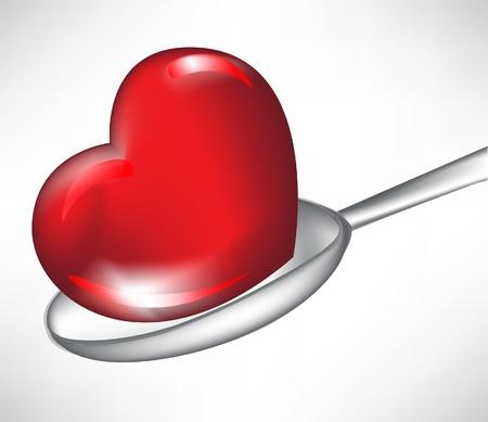 hart in lepel op wit wordt geïsoleerd
