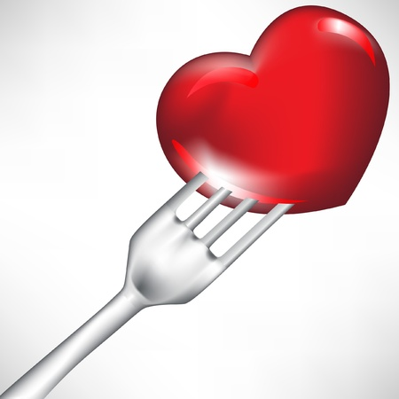 poisoning: red heart in fork isolated on white