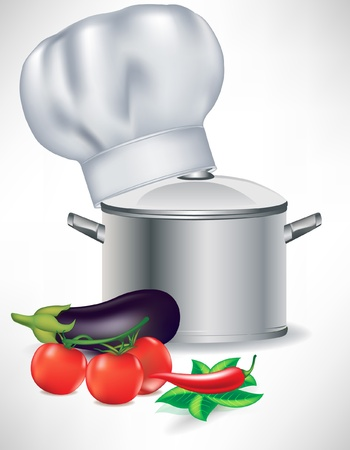 vegetables and pot with cooking chef hat isolated Vector