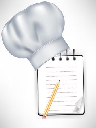 chef hoed met het recept notitieboekje en potlood geïsoleerd