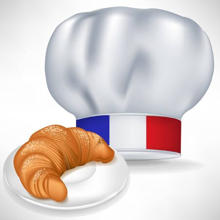 french cuisine: french cooking chef hat with croissant isolated on white