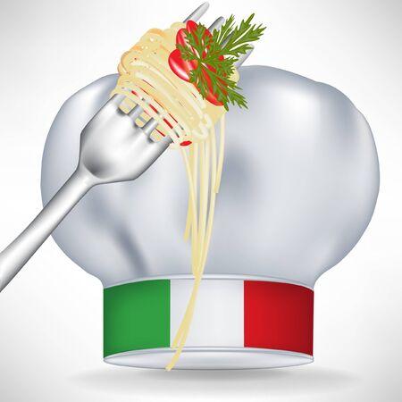 italian pasta: gorro de cocinero italiano con pasta de tenedor aisladas en blanco