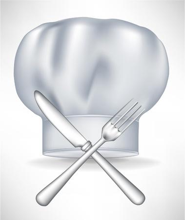 head wear: cappello da cuoco con coltello e forchetta attraversato isolato