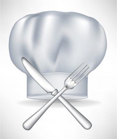 fine cuisine: chef hat with crossed knife and fork isolated
